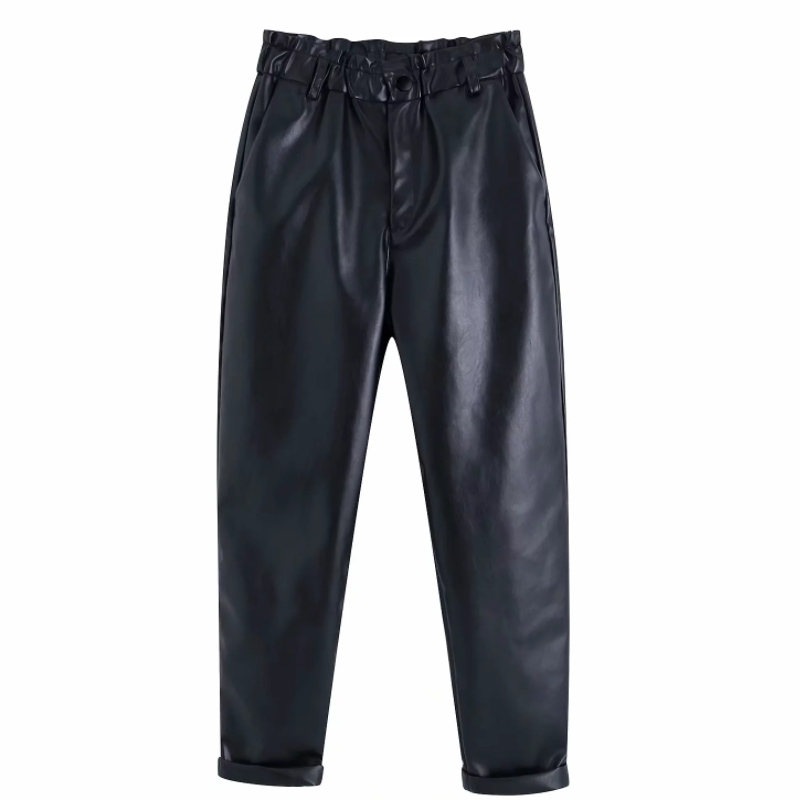 Women Chic PU Leather Pants Solid Elastic Waist Pockets Casual Loose Trousers Female Basic Elegant Leisure Trousers P586