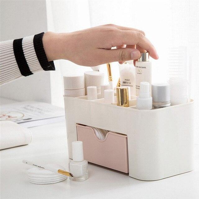 Boîte de maquillage de bureau en plastique avec petit tiroir ménage multi-fonctionnel boîte à bijoux boîte de rangement bureau bureau boîte de rangement