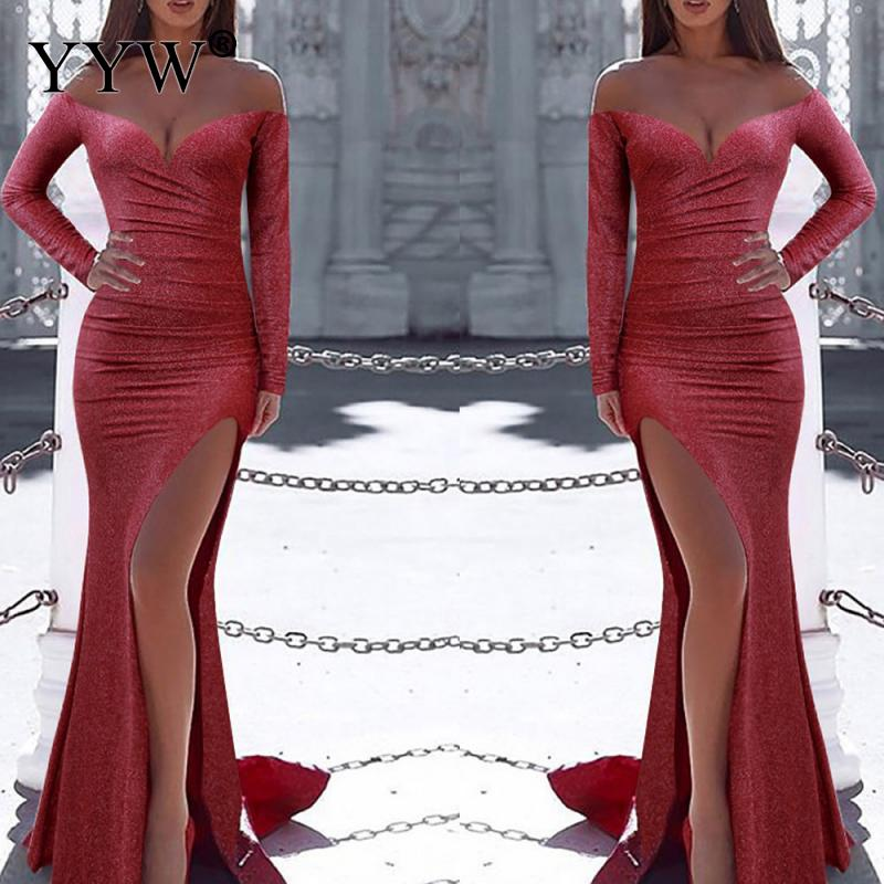 Red Sequins Side Slit   Evening     Dress   Women Off Shoulder Long Sleeve Sexy Robe Party   Dresses   Elegant Ladies Special Occasion Wear