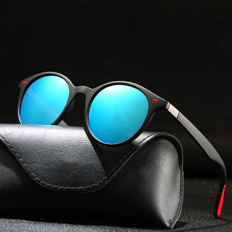 Polarized Sunglasses Fishing-Mirror Round Vintage UV400 Women Brand Designer Plastic