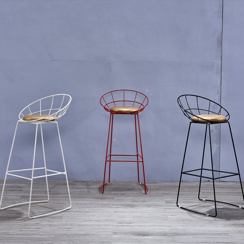 Metal Iron Wire Bar Creative Leisure Back Bar Counter Chair Northern Europe Bar Chair Simple High Stool