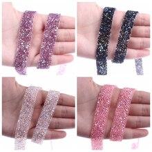 15MM Width 1Yard ruban strass crystal Hot Fix Rhinestones Applique Motifs Glitter Rhinestone Ribbon DIY Iron On Patches