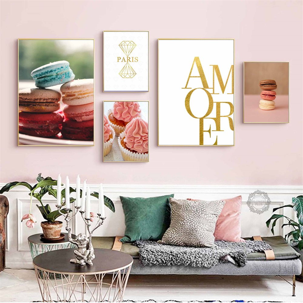 Macarons Cake Golden Wall Art combination Canvas Painting Nordic Posters And Prints Pictures For Living Room Decor