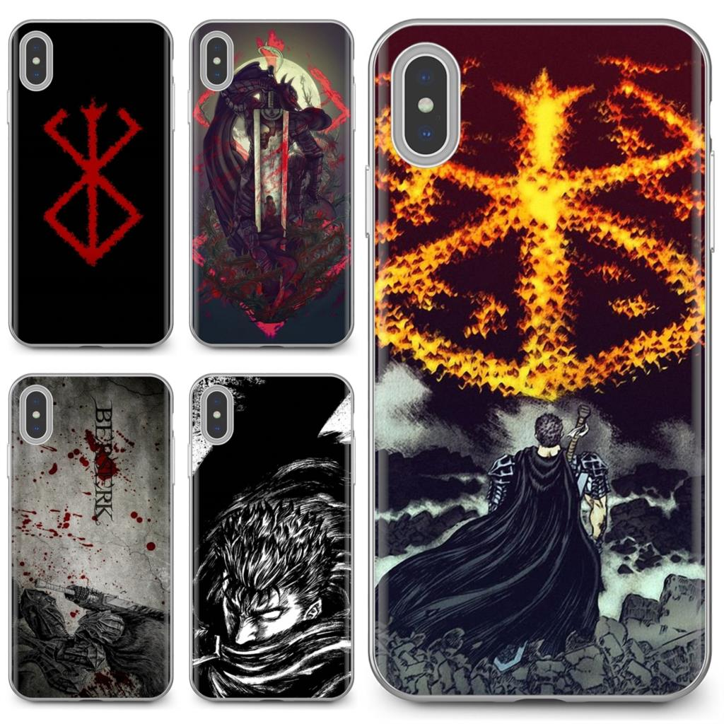 Buy Silicone Phone Case For iPhone 11 Pro 4 4S 5 5S SE 5C 6 6S 7 8 X 10 XR XS Plus Max For iPod Touch Japanese anime Berserk Art(China)