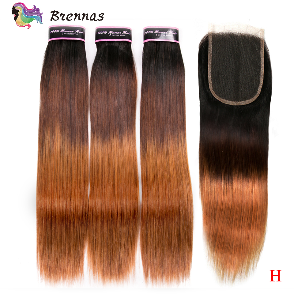 Brennas Double Drawn Straight Bundles With Closure Brazilian Non-Remy Human Hair Weave With 4x4 Closure Ombre 1b427 High Ratio