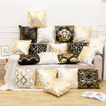 Fuwatacchi Black Gold Foil Linen Cushion Cover Leaf Flowers Diamond Pillow Cover for Home Chair Sofa Decorative Pillows 45*45cm fuwatacchi cute unicorn cushion cover gold stamping throw pillow cover new rainbow christmas decorative pillows for home chair