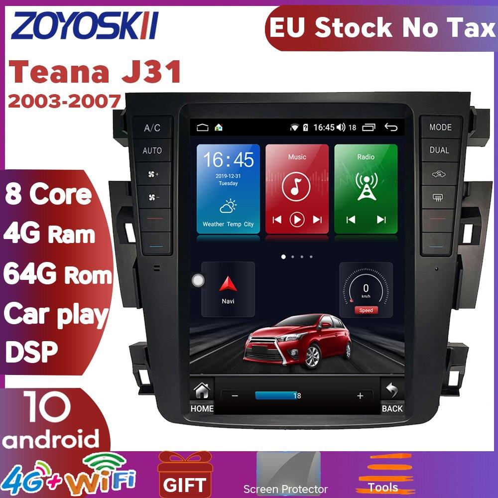 ZOYOSKII Android 10 os 10 дюймов Автомобильный gps Мультимедиа Радио bt навигация для Nissan teana J31 2003-2007 230JK 230jm samsung sm7