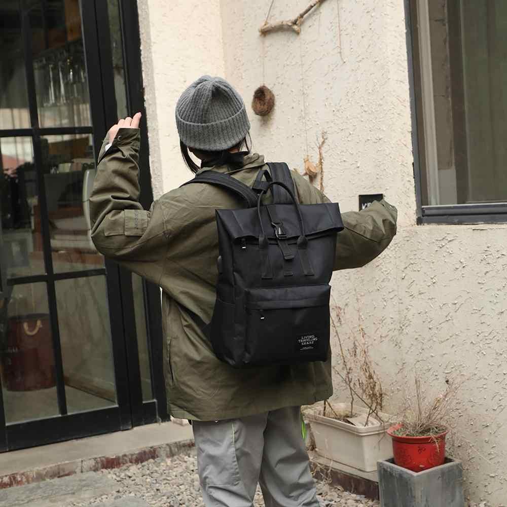 Kadınlar için harici USB şarj sırt çantası tuval sırt çantası erkek Mochila Escolar kız Laptop omuz okul çantaları gençler için sırt çantası