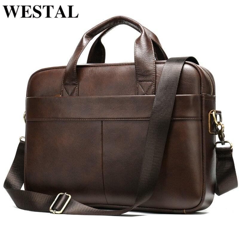 WESTAL Men's Briefcase Bag Men's Genuine Leather Laptop Bag For Men Office Bag For Men Porte Document Business Briefcase Handbag