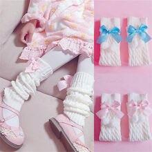 Lolita bowknot jk uniforme slouch meias botas soltas cor sólida malha inverno perna aquecedores meias pé aquecimento capa d582
