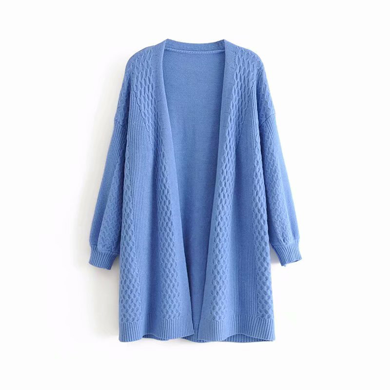 Open Stitch Long Sweaters Knitted Women Twist Coat V-Neck Spring and Autumn Sleeve Tops Ladies Outwear
