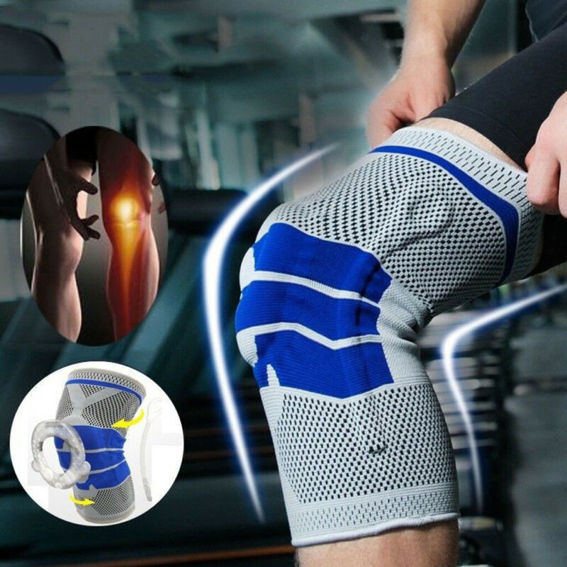 Silicone Spring Knee Sleeve Brace Sport Support Strong Meniscus Compression Protection
