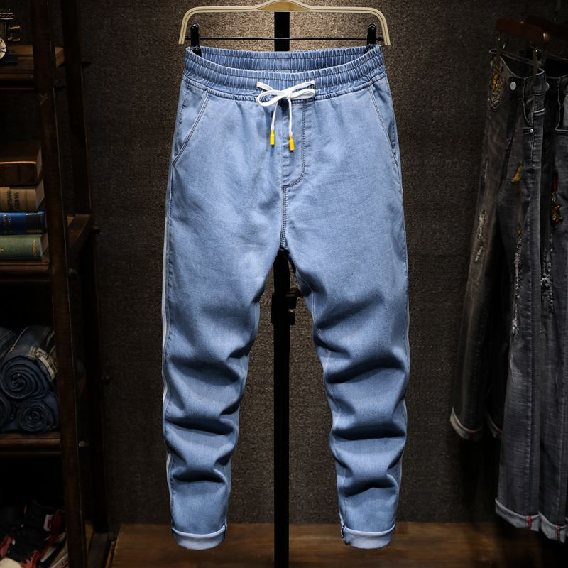 New Style Sports Casual Jeans Men's Elasticity Loose Elastic Waistband Jeans Men's