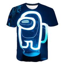 Erkek arasında biz oyun ekip T Shirt çocuklar karikatür mavi uzay öldürmek t-shirt komik kızlar için çocuk T-Shirt çocuk giyim üst 4t-14t