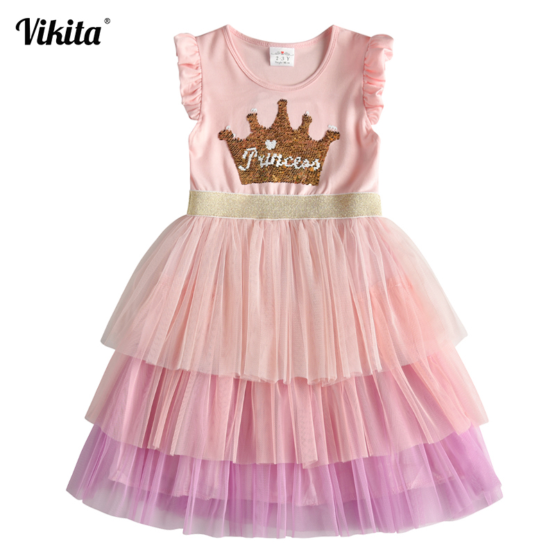 VIKITA Brand Kids Princess Summer Dress For Kids Children Sequins Tutu Dresses Toddlers Sleeveless Vestidos Girls Casual Dress
