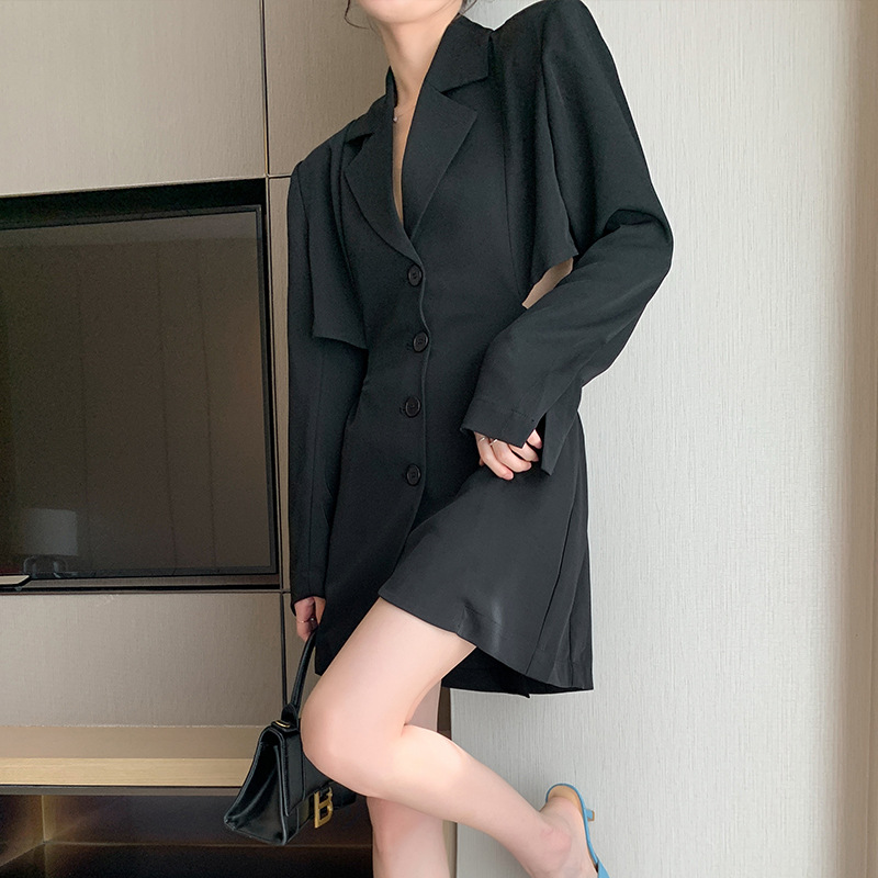 Women's Super A Backless Suit Temperament Suit Autumn Long-sleeved Polyester Jacket Fashion All-match Blazer Women's Office Suit