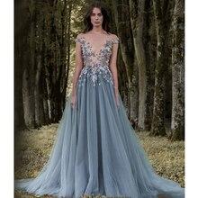 Verngo Appliques Tulle Evening Dress Off the shoulder Formal Chic Flower Gown Vestidos Elegantes
