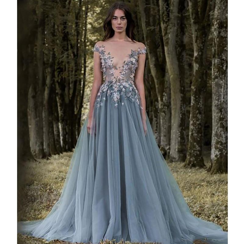 Verngo Appliques Tulle   Evening     Dress   Off the shoulder Formal   Dress   Chic Flower Gown Vestidos Elegantes