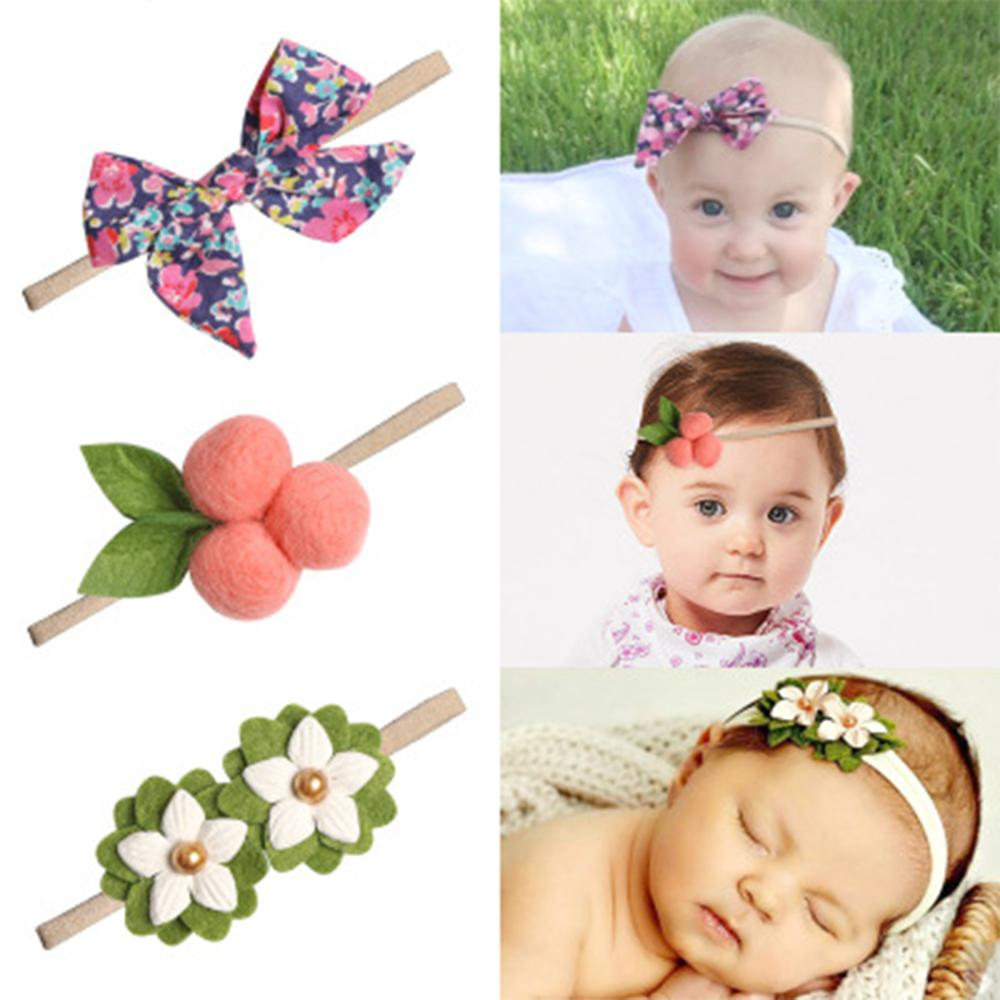 Felt Ball Print Flower Floiar Baby Headbands For Girls Handmade Bow Headband Hairband Elastic Newborn Hair Accessories