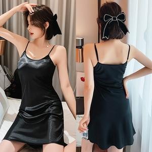 Image 4 - Womens Nightgown Sleepwear Sexy Sleepwear Condole Belt Nightgown Simulation Silk Home Sleeping Dress Women Sleepwear Sleep Wear