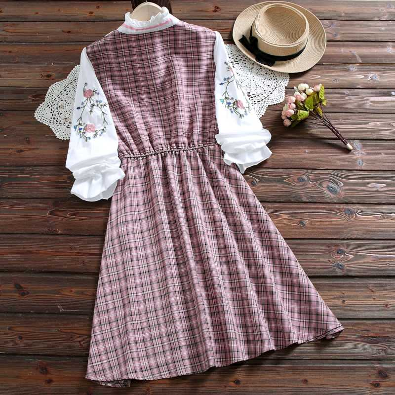 Юбка в стиле мори из двух частей с вышивкой, милое Хлопковое платье, женские клетчатые платья с длинными рукавами, зеленый, розовый s-xxl
