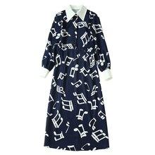 白音符プリント紺プラスサイズドレス指摘ターンダウン襟ミッドカーフ長長袖冬のドレス