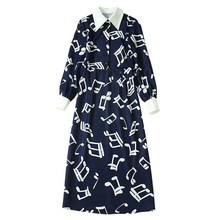 white musical note print navy blue plus size dress pointed turn down collar mid calf length long sleeve winter dresses