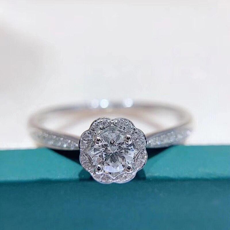 Lotus-Ring Engagement AEAW White Gold Women Brand Flower 18K Diamond for Luxury