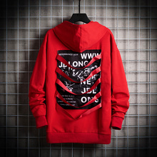 2019 Hip Hop Red Mens Hoodies Letter Pullovers Men Sweatshirts Causal Long Hoodie Harajuku Punk Male