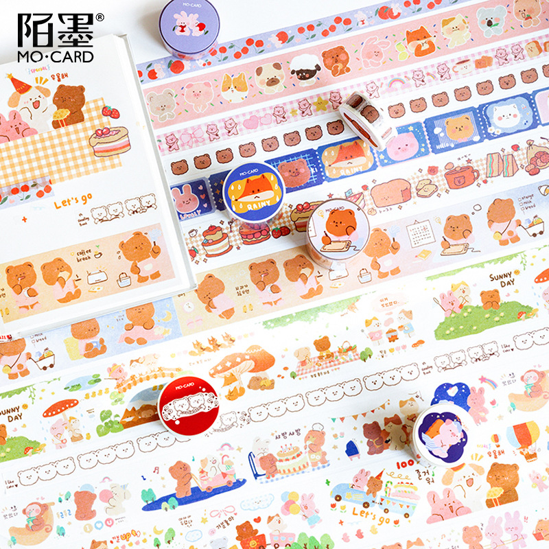 Cute Animal Series Bear Fox Journal Washi Masking Tape Decorative Cake Adhesive Tape DIY Scrapbooking Sticker Label Stationery