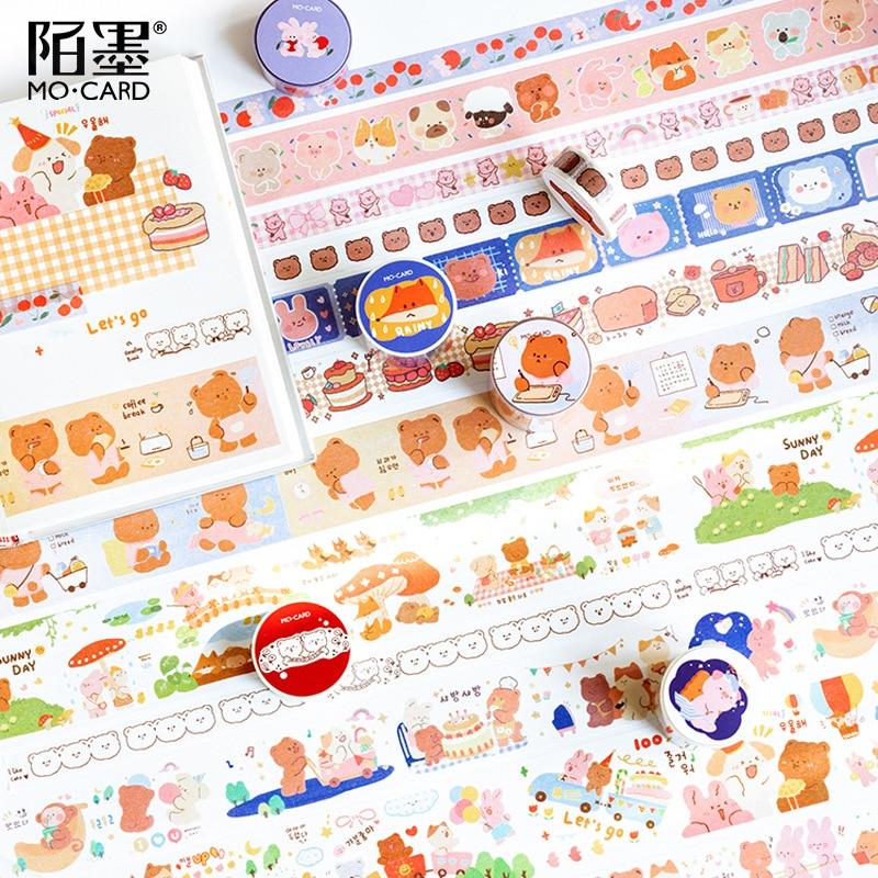 Cute Animal Series Bear Fox Journal Washi Masking Tape Decorative Cake Adhesive Tape DIY Scrapbooking Sticker Label Stationery