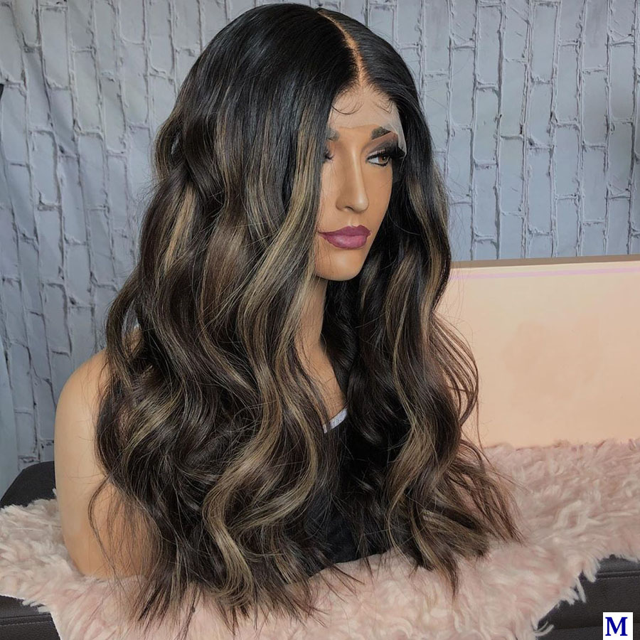 Peruvian Highlight 13x6 Deep Part Lace Front Human Hair Wigs with Baby Hair 180Density Lace Front Wigs for Black Women Remy