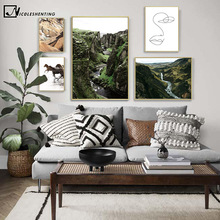 Scandinavian Canvas Poster Print Horse River Hill Nature Wall Art Picture Landscape Painting Nordic Style Living Room Decoration