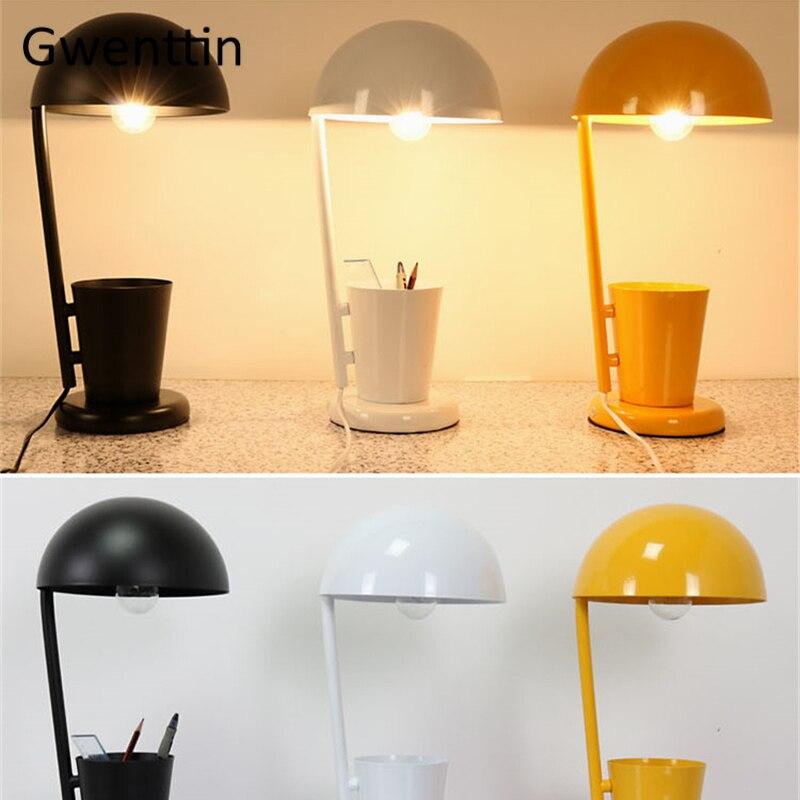 Чехол для ручки современная светодиодная настольная лампа для учебы, чтения, спальни, детская лампа, Скандинавское железо, настольная лампа...