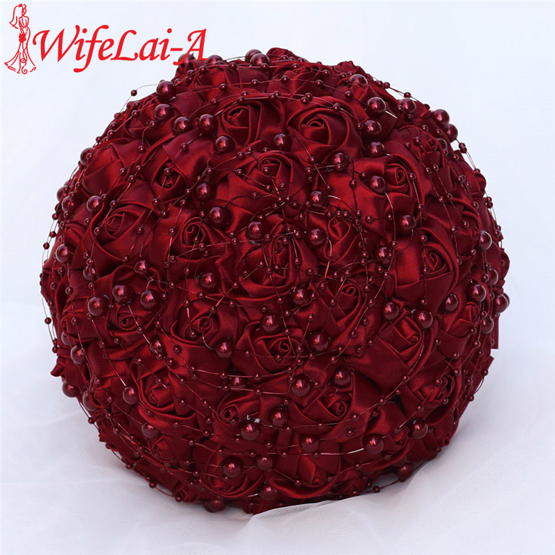 WifeLai-A Beautiful Pearl Beaded Bride 's Bouquet Dark Red Silk Rose Bridal Bridesmaid Holding Flowers Bouquet De Noiva W3018A