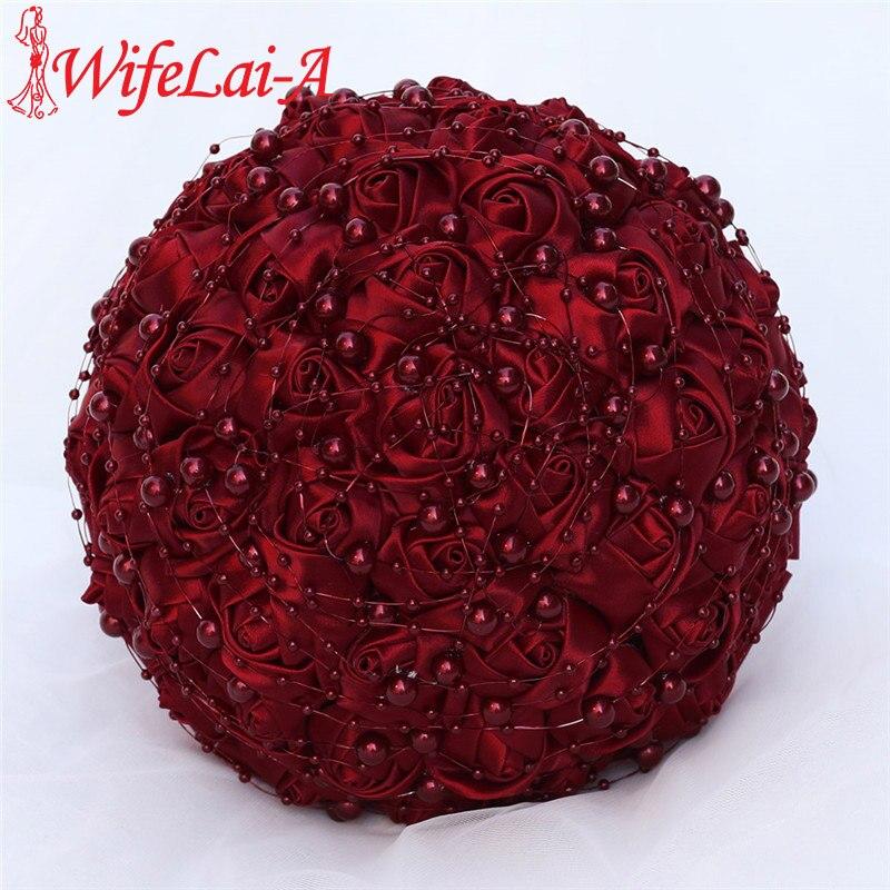 WifeLai-A Beautiful Pearl Beaded Bride 's Bouquet Dark Red Silk Rose Bridal Bridesmaid Holding Flowers Bouquet De Noiva W3018A