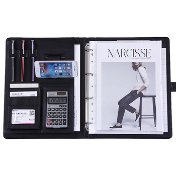 A4 PU Leather Portable File Folder With Calculator Phone Holder Multi-function Business Pads Manager Portfolio Office Supplies