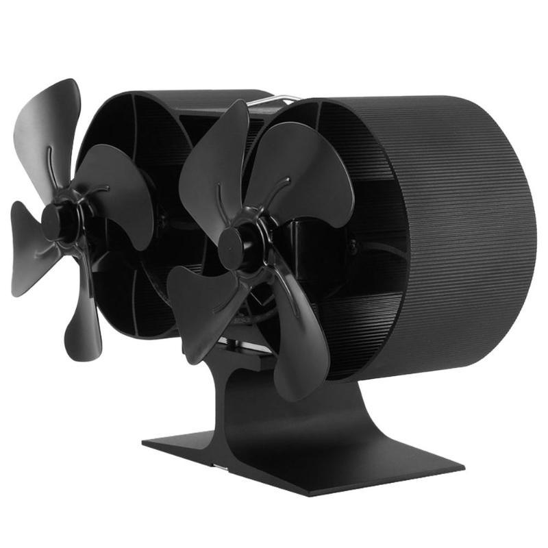Low Noise Fireplace Fan Home Efficient Heat Distribution Aluminum Burner Heat Powered Stove Fan 8 Blades Ventilation Device
