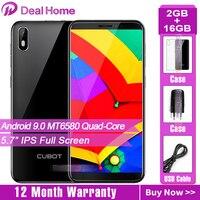 Cubot J7 5.7 18:9 Screen Android 9.0 Pie Smartphone MT6580 Quad Core 2800mAh Face ID Fingerprint Dual SIM Card Mobile Phone