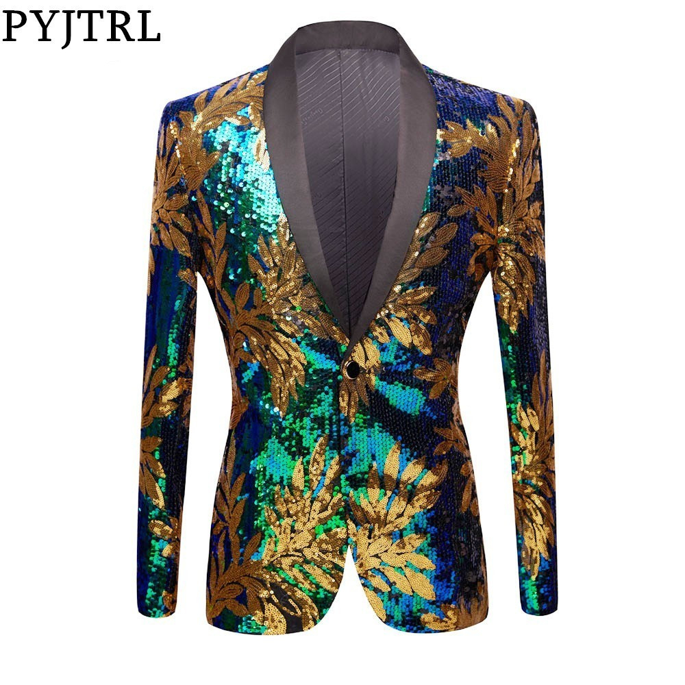 PYJTRL Full Sequins Series Gold Leaves Pattern Sequins Blazer DJ Night Club Singers Slim Fit Men Suit Jacket Stage Shiny Costume