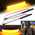 2 Pcs Motorcycle Turn Signals Light Lamps Amber LED Strips  Brake Lamps Lighting|Reflective Strips| |  -