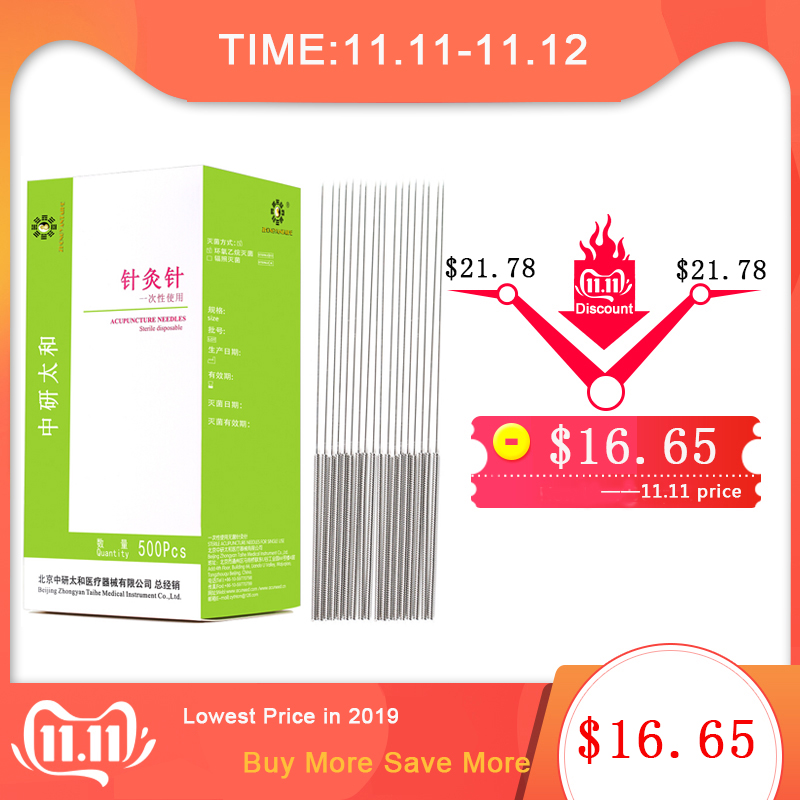500 Pcs/pack ZhongyanTaihe Dry Needling Disposable Acupuncture Needle Silver Handle Chinese Medicine Full Body Pain Relief