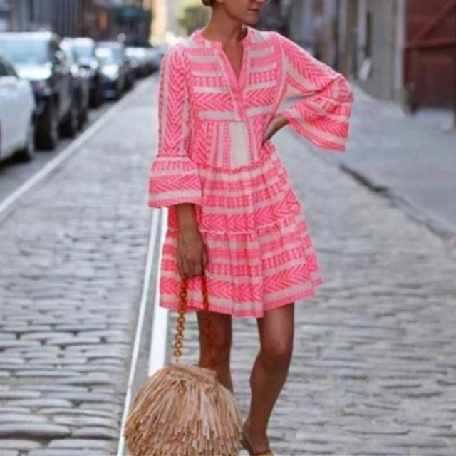 Women Summer Boho Mini Striped Printing Dress 2021 Flare Sleeve Flowy Beach Party Plus Size Fashion Casual V-Neck Loose Dresses 5