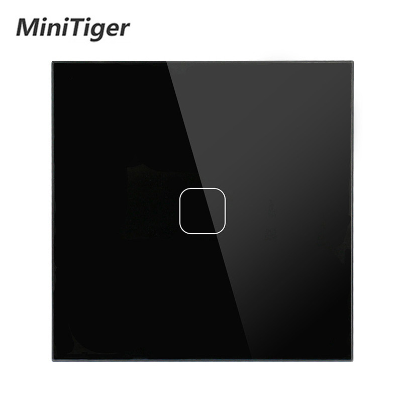 EU Standard Touch Switch 1 Gang 1 Way Wall Light Touch Screen Switch Crystal Glass Panel With LED