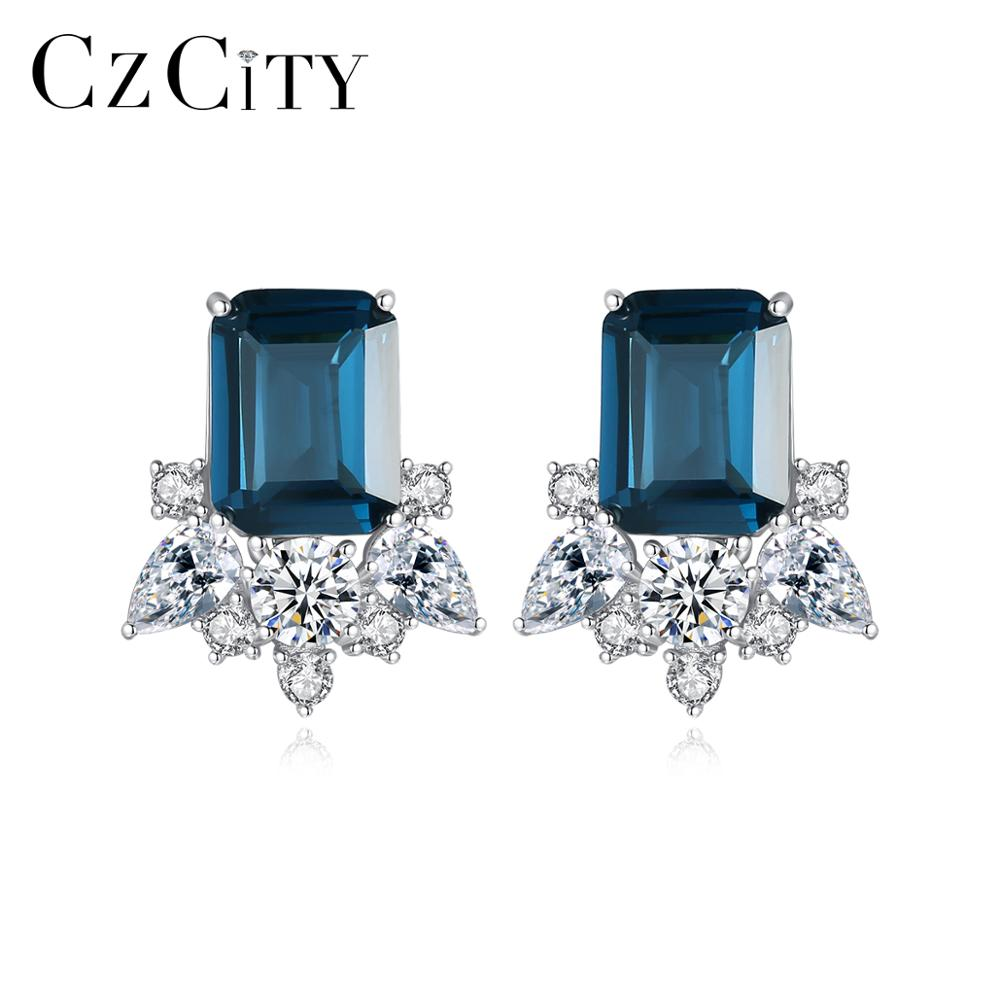CZCITY Gemstone Square Sapphire Stud Earrings for Women Wedding Engagement Fine Jewellery Real 925 Sterling Silver Brincos Gifts