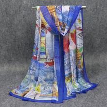 Новый летний женский шарф Жоржет шифон архитектурный шелковый