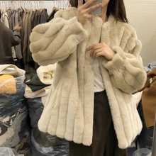 Fur Coat Stand-Collar Rabbit-Fur Integrated Fashion Women for Youth Lazy New
