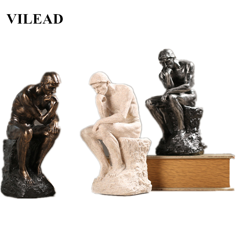 VILEAD 26cm Resin Sandstone Thinkers Figurines Nordic Creative Ornaments Home Study Retro Decorations Office Furnishings Gifts