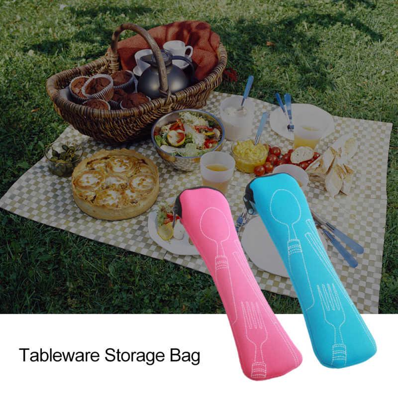 3 pçs/set aço inoxidável portátil talheres de viagem talheres saco acampamento conjunto garfo poon conjunto piquenique ferramenta