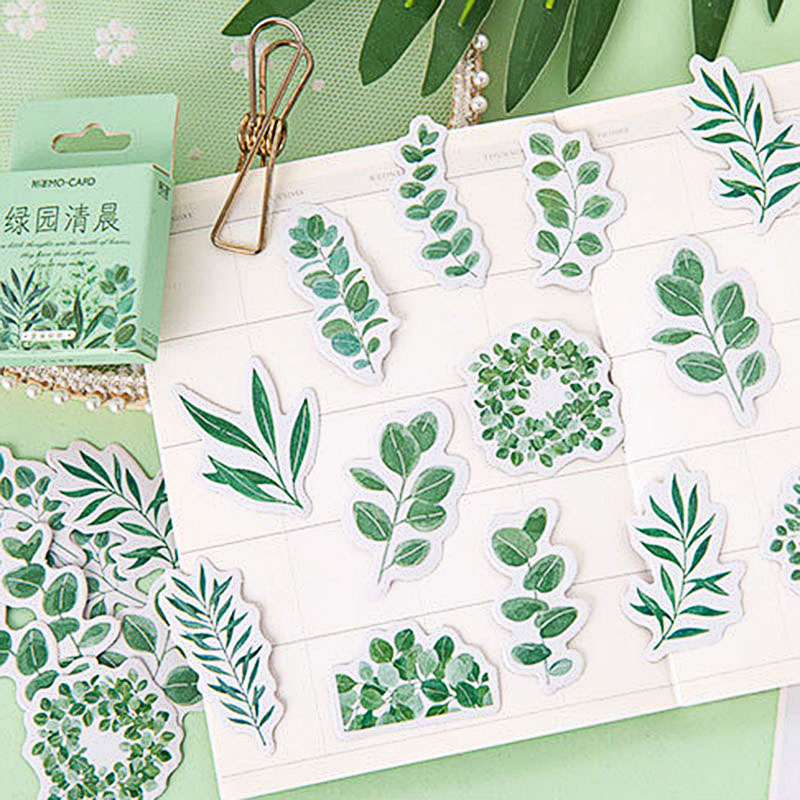 45Pcs/Box Green Leaves Sticker Cute Plant Journal Decorative Sticker For Kids DIY Diary Scrapbooking Stationery Stickers